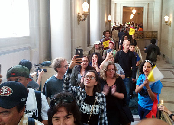 Mission District protesters jammed the corridors of City Hall, demanding action from city supervisors and the Mayor.