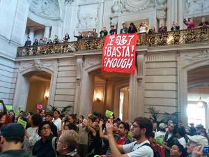 """This """"Basta!"""" banner was also seized."""