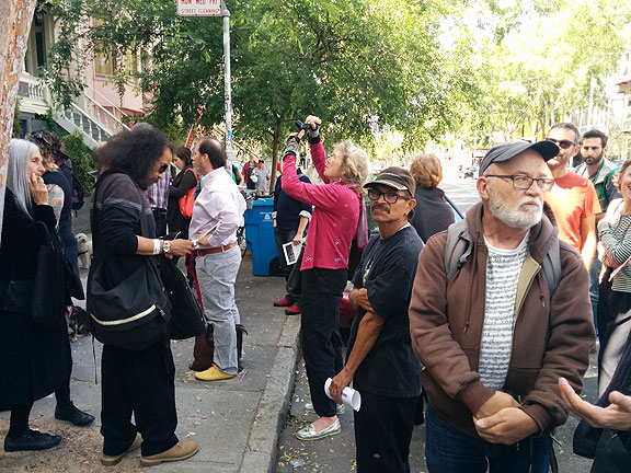 Friends at Pigeon Palace protest May 6, 2015.