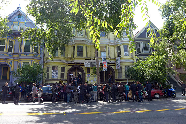 The Pigeon Palace, 2840-2848 Folsom in San Francisco, with a lively demo during the final open house on May 6, 2015.