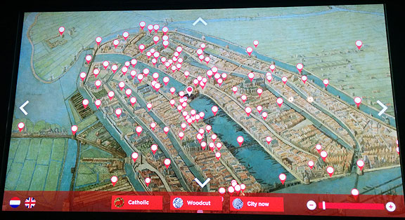 A better use of technology in the main Amsterdam city museum. Each button pops up close-up images and a brief explanation.