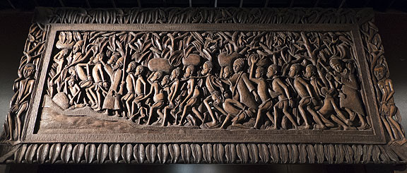 The slave trade represented in this wooden carving.