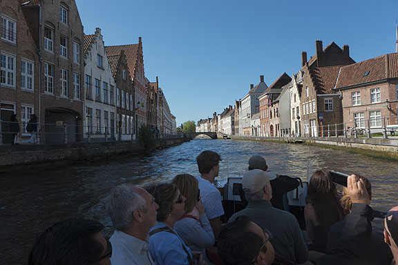 Bruges canal ride, old 16th century buildings all lovingly restored to attract the big tourism that holds the town up now.