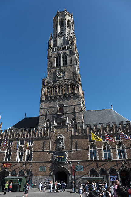 Massive and elegant City Hall in Bruges.