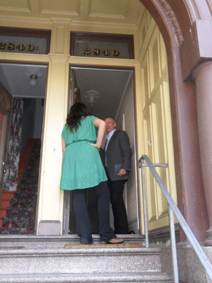 Carin McKay confronts potential buyer in her door...