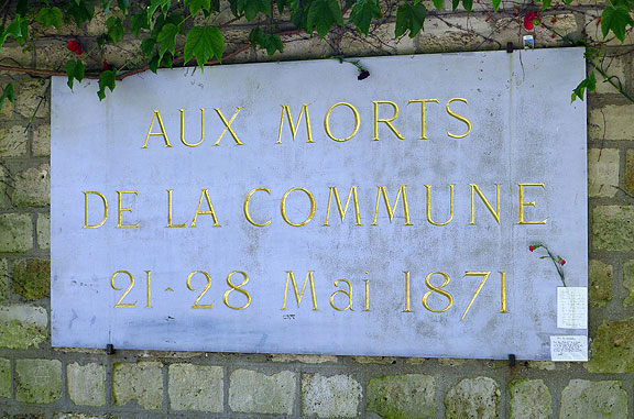 To the dead of the 1871 Paris Commune in the Pere Lachaise Cemetery.