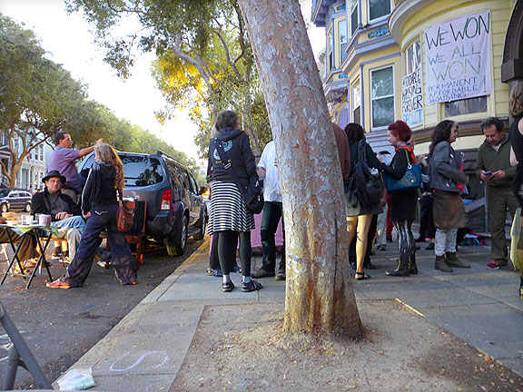 Sidewalk Party October 10, 2015, celebrating the successful purchase of the Pigeon Palace by the San Francisco Community Land Trust (closed Sept. 10, 2015).