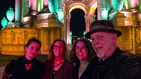 In February at the PPIE100 opening at the Palace of Fine Arts: LisaRuth Elliott, Mary Brown, Elizabeth Creely, and yours truly.