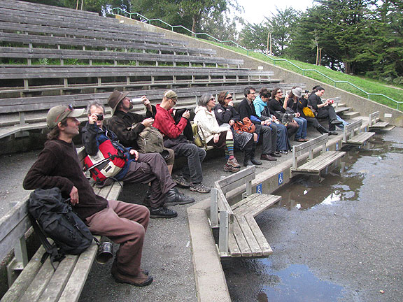 Friends await a grand birthday speech at the McLaren Park Jerry Garcia Amphitheater, Feb. 6, 2010...