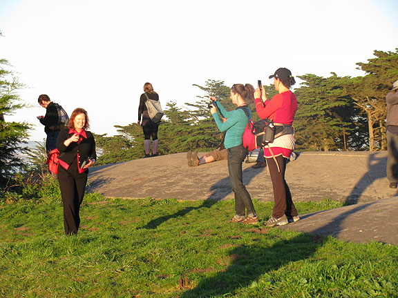 Everyone snapping photos on Feb. 10, 2011 birthday walk at the coast in the Presidio.