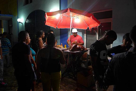 Roast pig at Trinidad street festival.