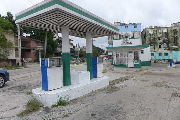 Abandoned gas station in Havana.