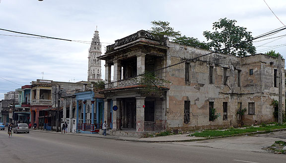 Miles and miles of such buildings are characteristic of Havana, even far from the center of town.