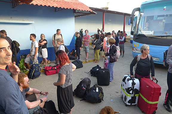 Tourists overwhelm the bus system, here in Triniad, Cuba.