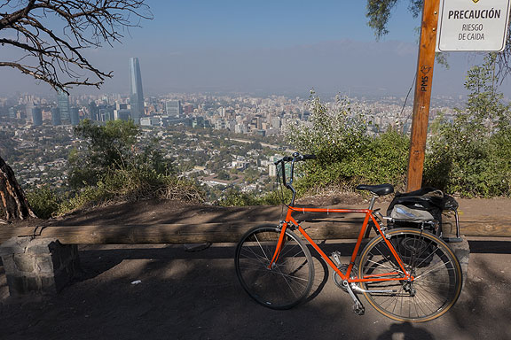 Riding to the top of Cerro de San Cristobal in the Parque Metropolitano in Santiago, on this lovely bike made for my visit! (Thanks Ricardo!)