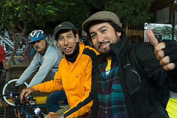Lucas from Argentina, and Ricardo from Santiago at Critical Mass
