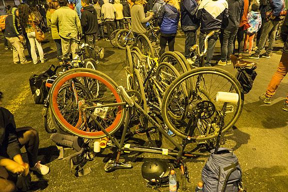 Bike pile at outdoor concert, April 4.