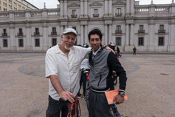 Me and Ricardo getting ready to enter La Moneda, for the unexpected and very strange meeting with the President of Chile!