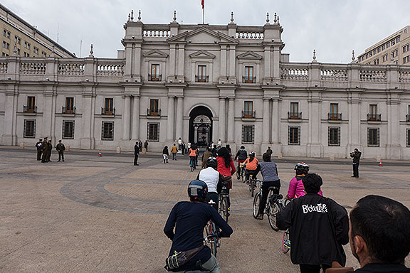 Riding in to La Moneda, the place where Allende was killed after bombardment on Sept. 11, 1973