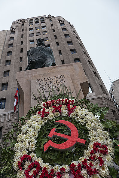 This statue to Salvador Allende stands adjacent to La Moneda where he was murdered in 1973.