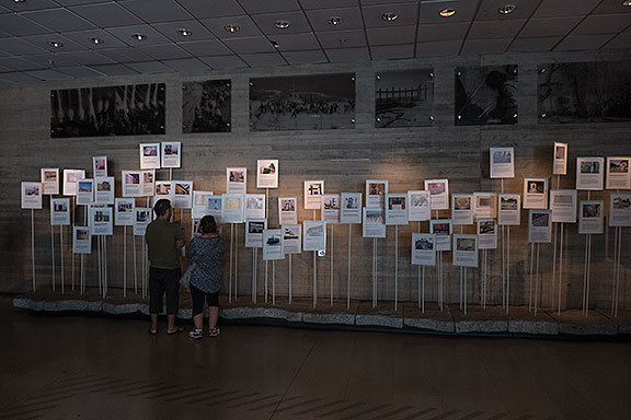 The ground floor is photo-friendly while the upstairs displays of media and personal accounts of the atrocities suffered are not. This display features specific memorials that have been built around Chile.