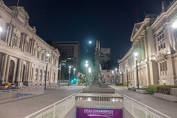 A night ride to see the sights brought to the Plaza de la Justicia where the moon rising added to the drama of the architecture.