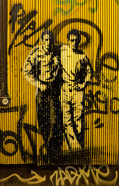 This stencil of Jack Kerouac and Neil Casady is an iconic image used for years by City Lights Books in San Francisco... and here it was on the walls of Valparaiso, keeping alive the connection between the two cities?