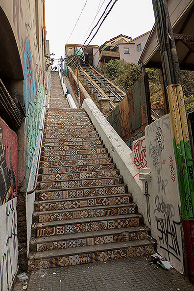Mosaic-decorated stairs next to another funicular.