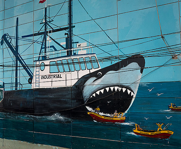 A protest mural at the fish market.