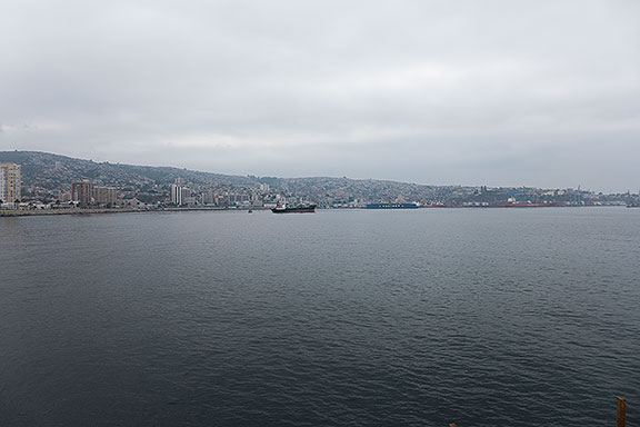 Valparaiso, Chile, view towards south from fishing pier in bay.