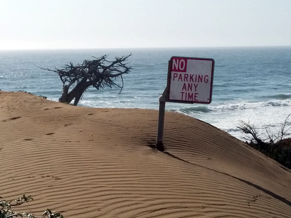 Time for a managed retreat from the Pacific coast! No parking any time!
