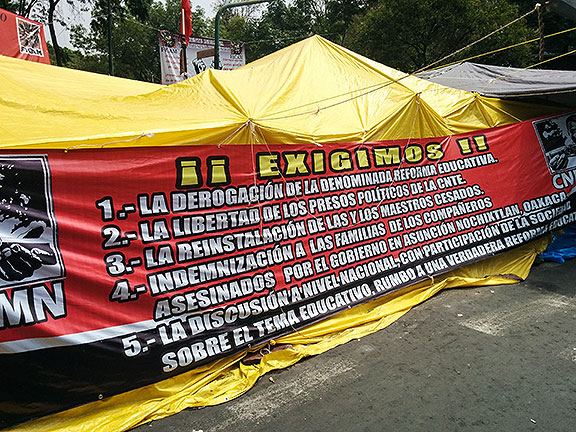 The demands are everywhere... release the teachers jailed during protests, halt the reforms, etc.