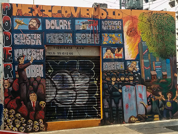 Wild mural on nearby building in Mexico City.