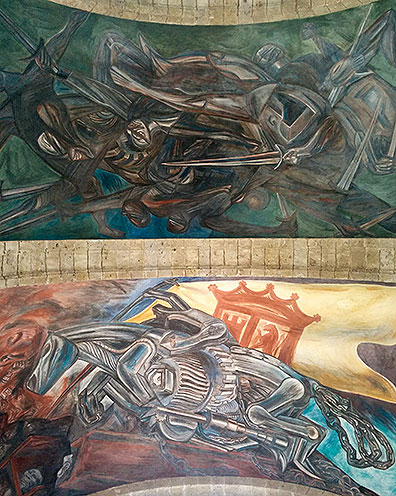 Ceiling frescoes at Las Cabañas by Jose Clemente Orozco in Guadalajara.