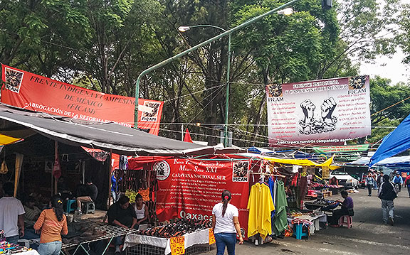 Countless tents and banners proclaiming the goals clog several square blocks in the heart of Mexico City.