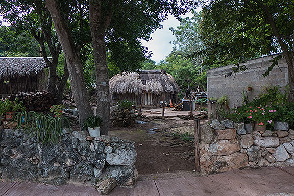 A neighbor's property with several traditional huts.